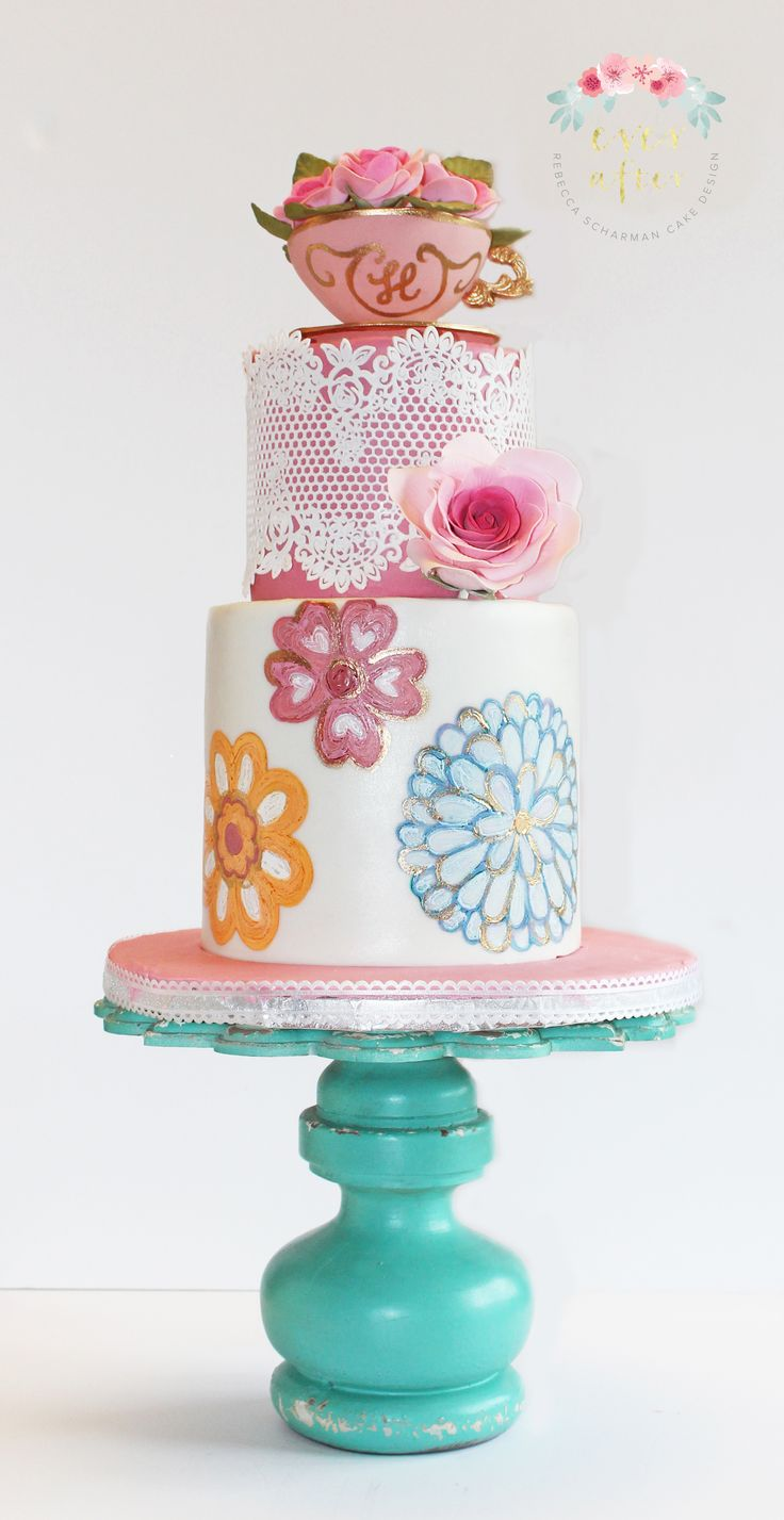 @everaftercake This cake was made for a ladies 90th birthday. The party was a tea party theme.  The tea cup is edible and monogramed with the first initial.