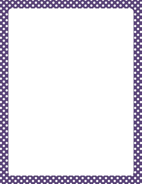 Printable purple and white polka dot border. Free GIF, JPG, PDF, and PNG downloads at http://pageborders.org/download/purple-and-white-polka-dot-border/. EPS and AI versions are also available.
