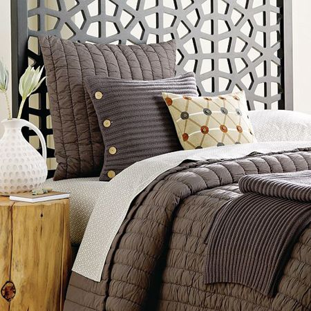 Home-Dzine - Make a contemporary headboard...I love the cushions and the bedding.