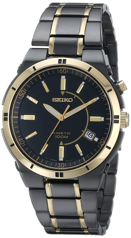 Seiko Men's SKA366 Stainless Steel Two-Tone Kinetic Dress Watch