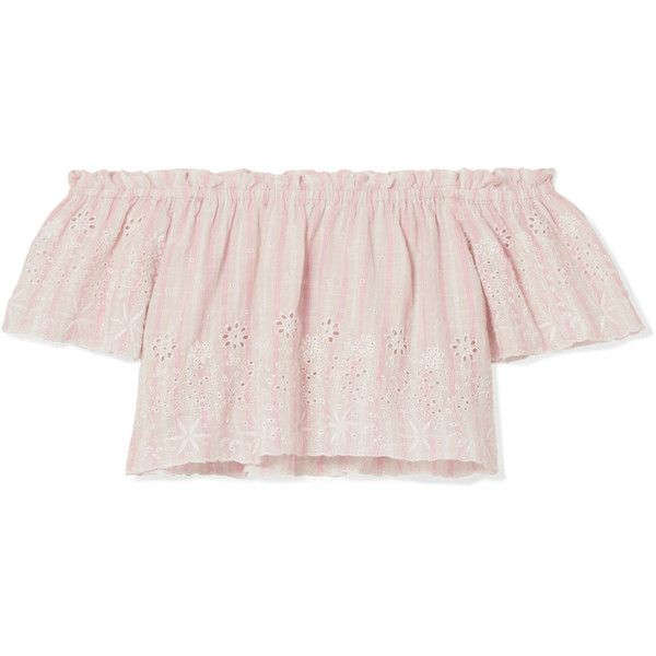 LoveShackFancy Stephanie off-the-shoulder striped broderie anglaise... ($2,100) ❤ liked on Polyvore featuring tops, peach, peach top, patterned crop top, pink off the shoulder top, striped off-the-shoulder tops and striped top