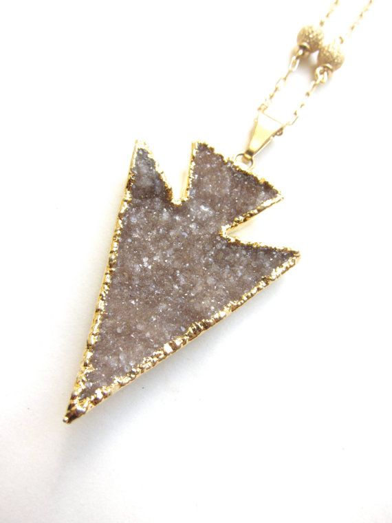 Fine 24k Gold Dipped Smoky Mauve Druzy by BsquareJewelryDesign, $120.00