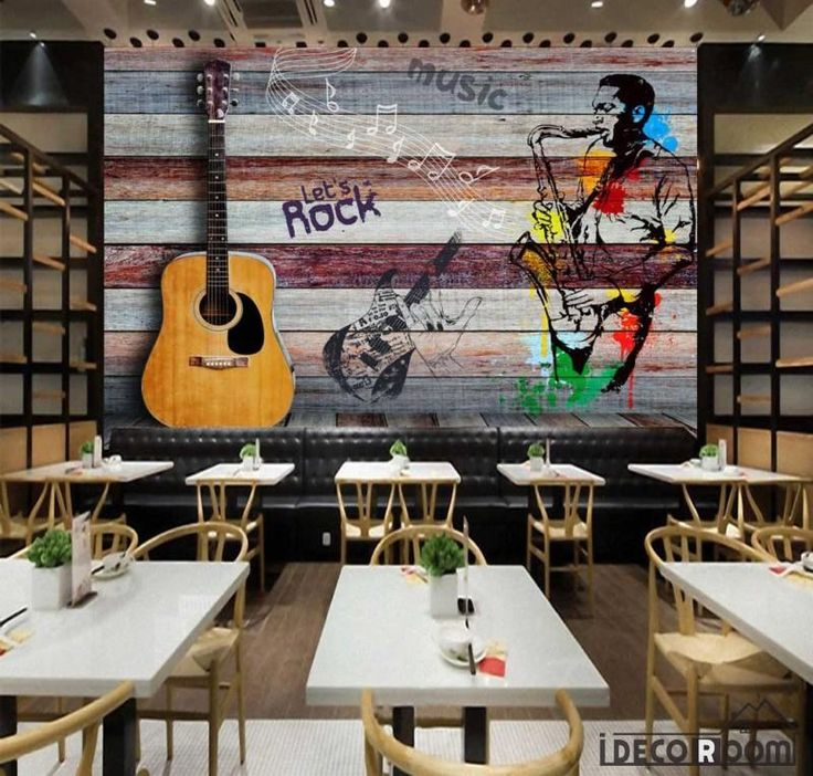 Colorful Wooden Wall 3D Guitar Drawing Man With Saxophone Restaurant Art Wall Murals Wallpaper Decals Prints Decor