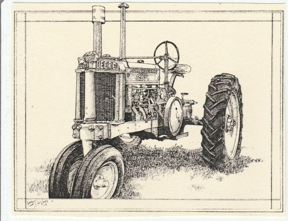JOHN DEERE GP tractor-This 6-pack of blank, ivory cards with matching envelopes features a pen-and-ink drawing of an old John Deere  tractor