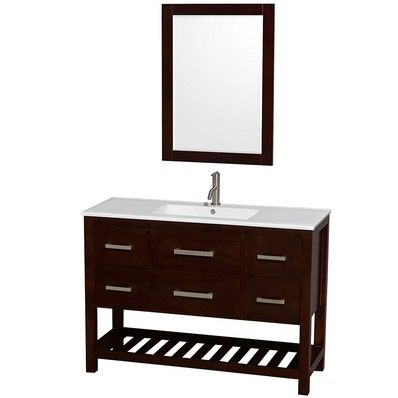 Marvelous Buy The Wyndham Collection Natalie 48 Single Bathroom Vanity With White  Porcelain Countertop Integrated Sink And 24 Mirror   Vanity Top Includes  From
