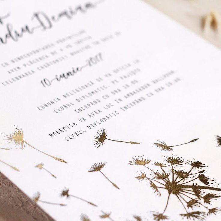 © PAPIRA invitatii de nunta personalizate // One pretty gold foil dandelion in the wind. You can find this wedding invite on our website. // #papiradesign #papirainvitations #invitatiidenunta #invitatiinunta #weddinginvitations