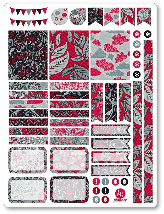 Red Sky Decorating Kit / Weekly Spread Planner Stickers for Erin Condren Planner, Filofax, Plum Paper