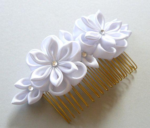 White Bridal Kanzashi Fabric Flower hair comb .