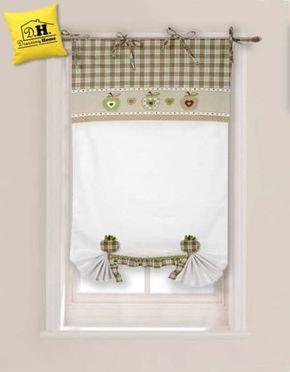 Tenda finestra con due embrasse Angelica Home & Country Collezione Mele in Beige