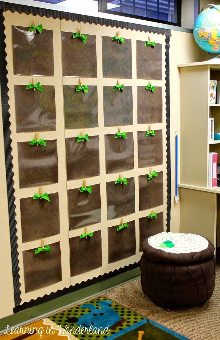 Learning In Wonderland: Classroom Tour The little 'wooden' displays are so adorbs! Would so use this idea for a display with K-3 for fox/woodland theme.