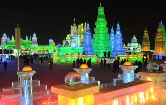Ice sculptures were on display Friday at the annual Harbin International Ice and Snow Sculpture Festival in China's northeastern Heilongjiang province.