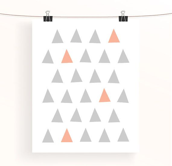 Instant download Peach and grey triangle poster par madebyaiza