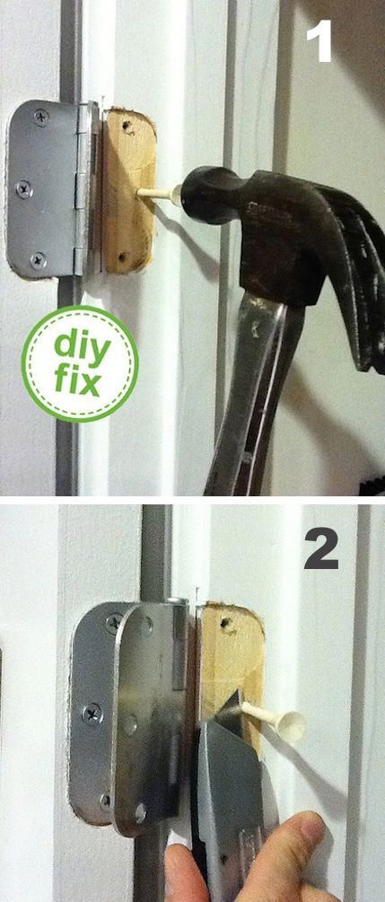 A loose door hinge can be a tricky fix because the existing screw hole has stripped, causing the wiggly door problem. Fill in the hole with a golf tee and a little carpenter's glue, and then cut of the end to create a flush piece of wood for your new screw. Don't have a golf tee handy? I've also seen this done with toothpicks!