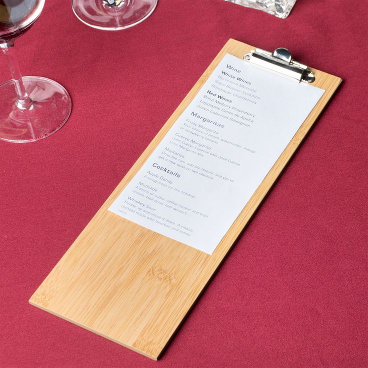 """American Metalcraft BB4 12 1/2"""" x 4 1/2"""" Bamboo Wood Menu Holder with Clip"""