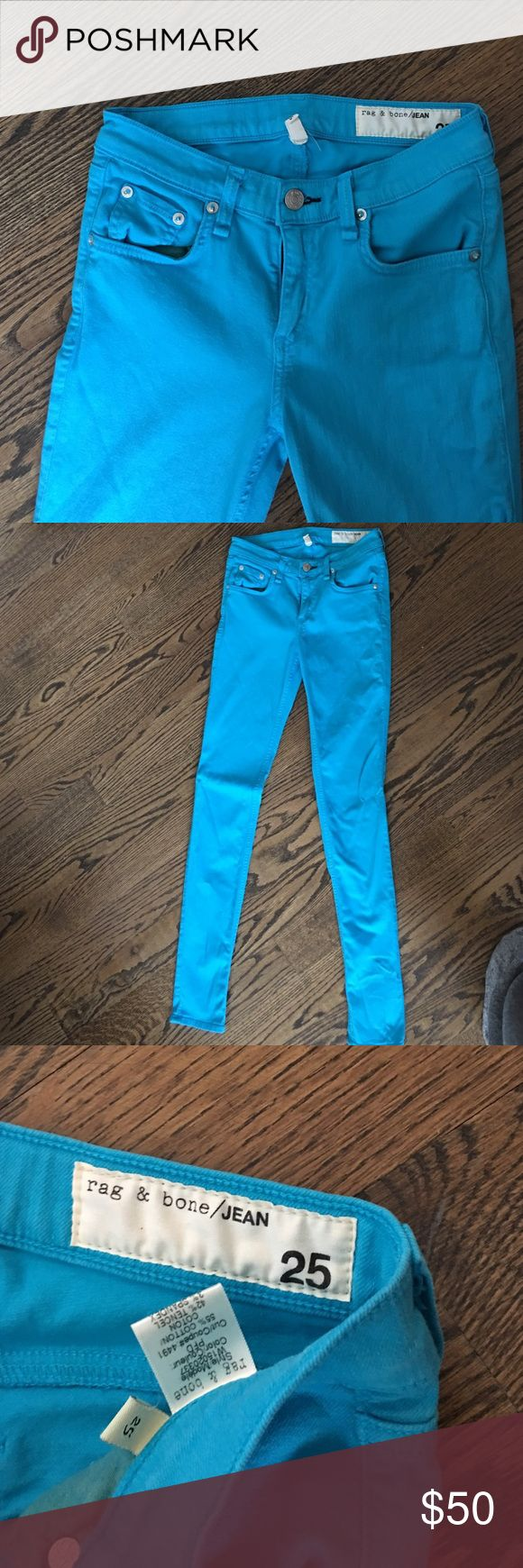 Rag and bone teal skinny jean Worn once....Slimming fit rag & bone Jeans Skinny