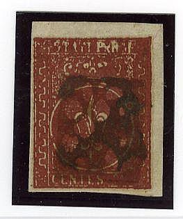 II em. 25 c. bruno rosso scuro stampa impastata per eccesso di inchiostrazione (8a), angolo di foglio. Bello. Cert. G. Bolaffi.