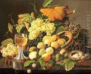 Still Life with Fruit, Bird's Nest and Wine Glass  by Severin Roesen