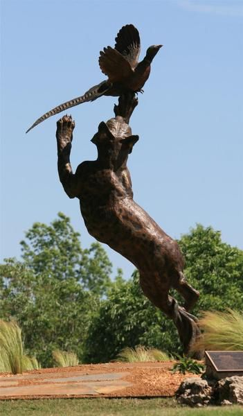 Long Shot Bobcat and Pheasant Monument Height 10' x Length 4' x Width 3' - Weight 1200lbs by Jocelyn Russell