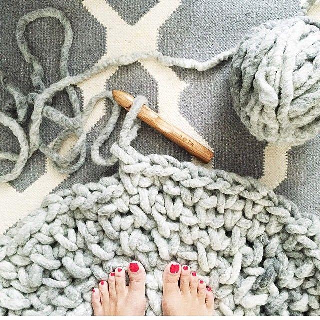 Regram from @sparkandpepper crocheting with Loopy Mango Big Loop Yarn #crochetrug #yarn #