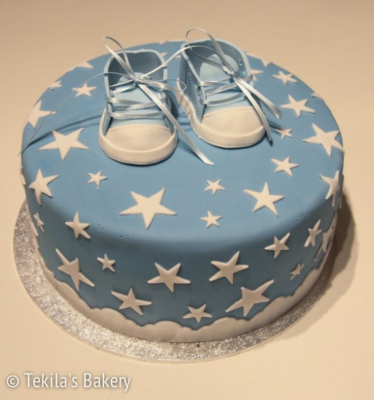 Christening cake for boy. Fondant cake with stars