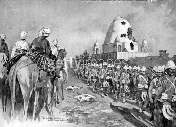 Highlanders march past the Tomb Of The Madhi after the battle of Omdurman by Rene Bull