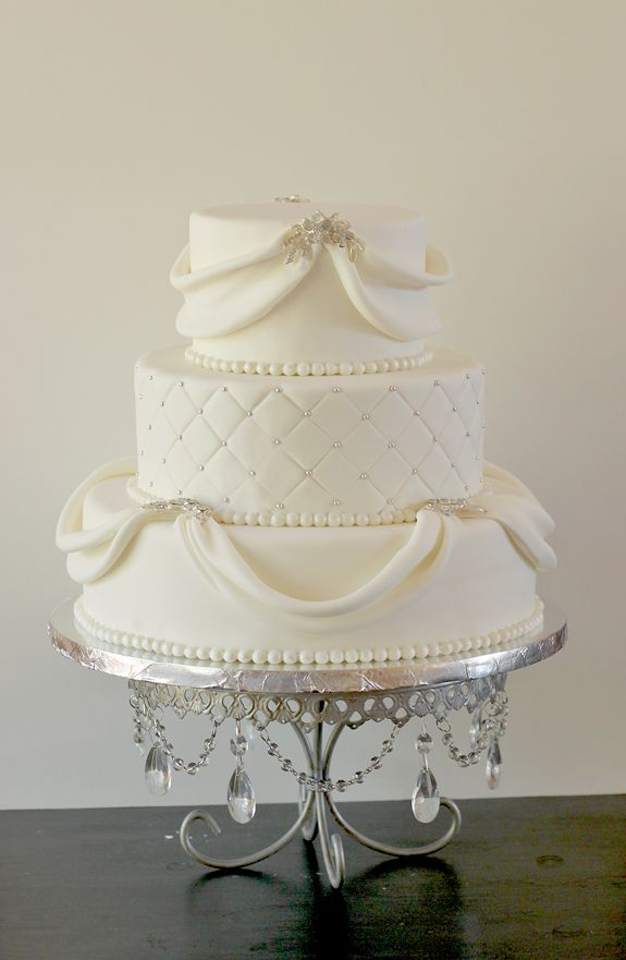 Natalie & Bill's Sparkly White Wedding Cake | The Couture Cakery