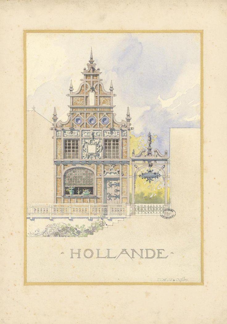 Planche aquarellée représentant le pavillon de la Hollande lors de l'exposition universelle de 1900.  Carton, aquarelle, 50 x 36,5 cm Archives nationales CP/F/12/4445/X © Archives nationales, France