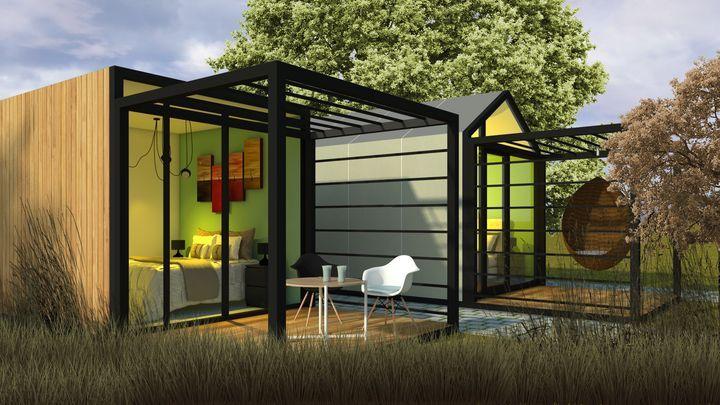 """Cosy by Domusmart & Collectivo Design, Glamourhouse con tetto piano o a falde simmetriche. Modello da 3 metri sul lato corto, un """"nido"""" dove riposare e ricaricarsi dallo stress quotidiano."""