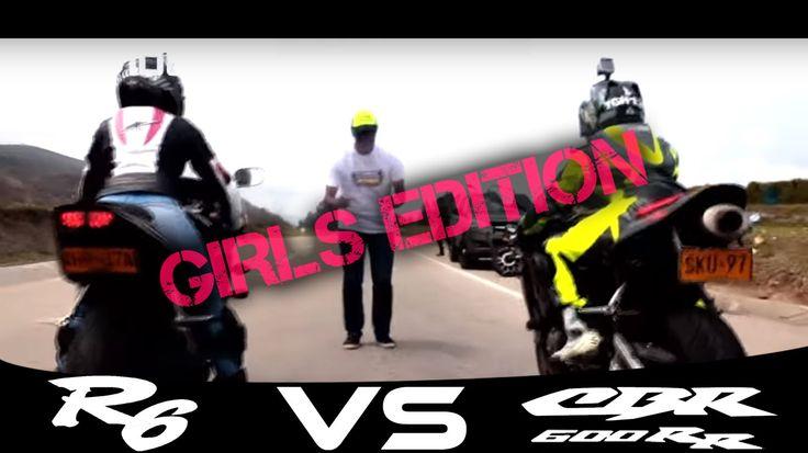 HONDA CBR 600 VS YAMAHA R6S Drag Race / Girls Edition