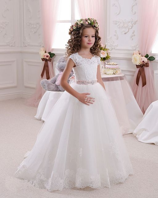 2016 Hot White Flower Girl Dresses for Weddings Lovely Lace Bow Girls Pageant Dresses First Communion Dresses for Little Girls