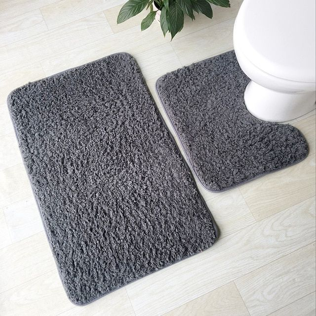 2pcs Bathroom Mats Set Anti Slip Bath Rug Kit Toilet Pattern Non