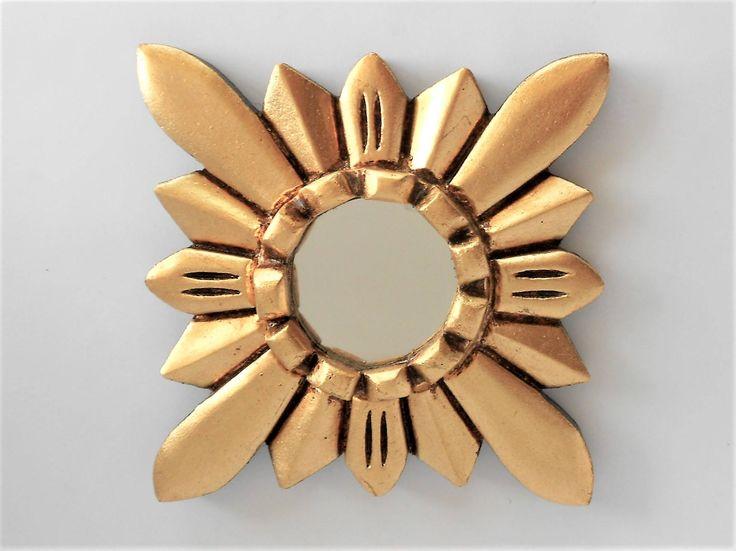 5.5 x 5.5, Round Mirror, Gold Leaf Frame Mirror,Small Wall Mirror,Mirror Gold, by GoldLeafGirl on Etsy
