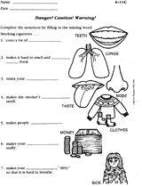 Smoking Effects Printable (3rd - 5th Grade) - TeacherVision.com