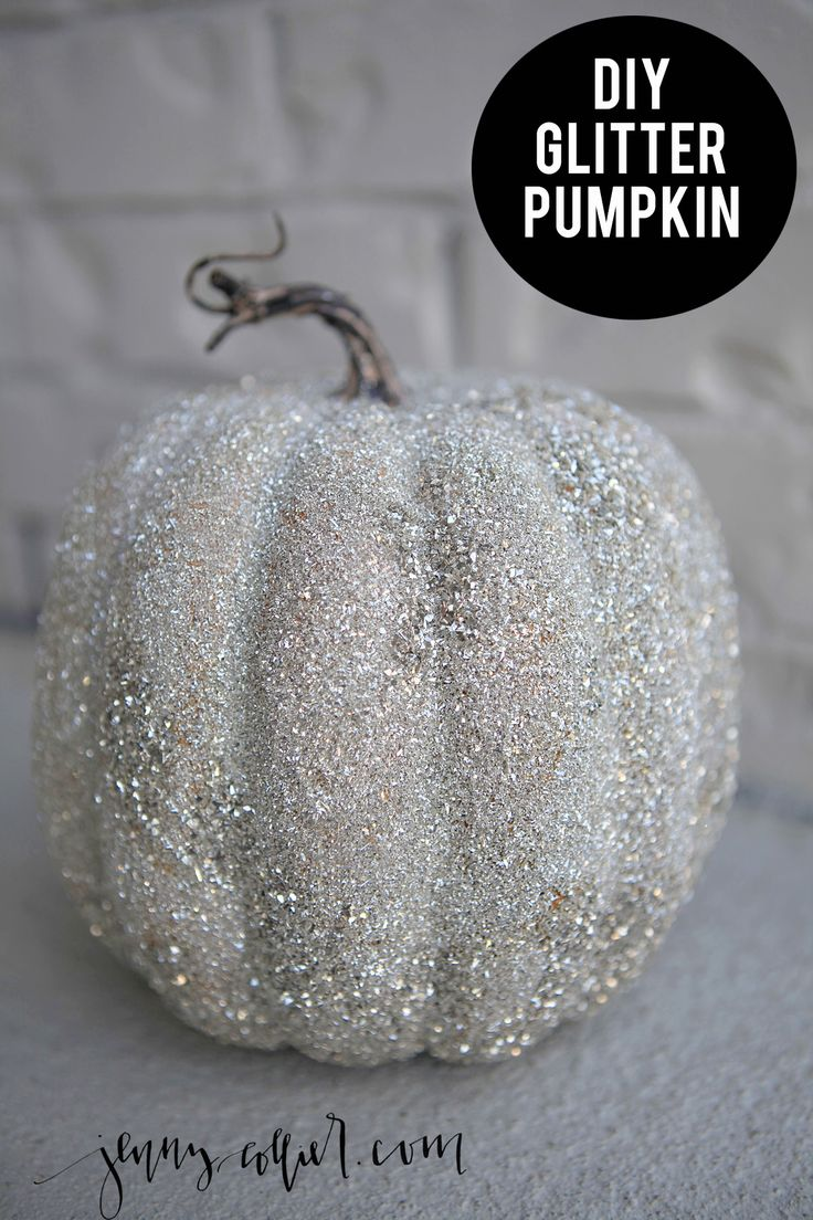 Recreating a look for a glass glitter pumpkin that can be used year after year in this DIY glitter pumpkins tutorial