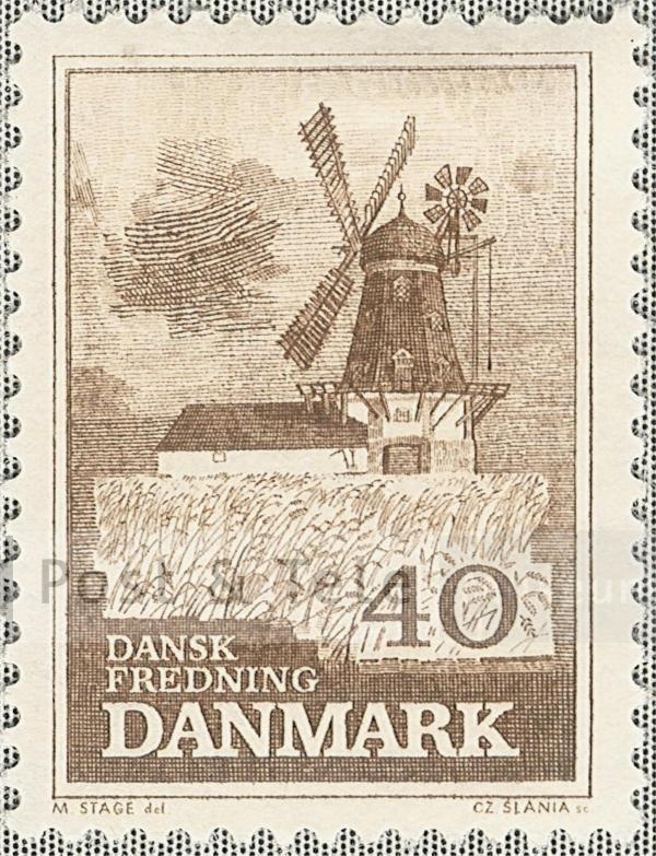 Bogø vindmølle. Udgivelsesdato: 1965-11-10. Post & Tele Museum Frimærker   frimaerker.ptt-museum.dk