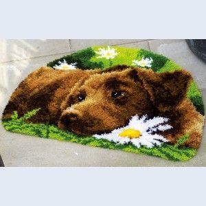 Chocolate Labrador, knooptapijt, smyrnatapijt