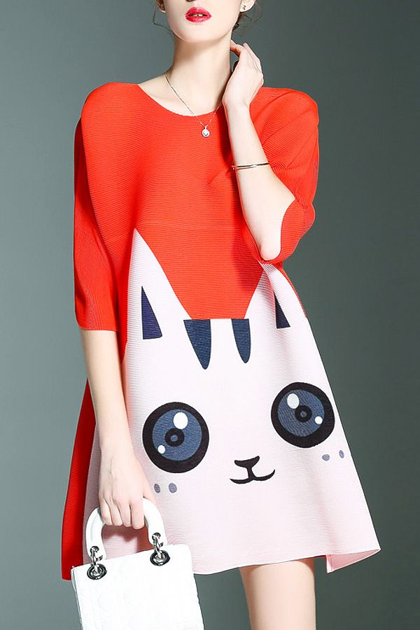 Shyslily Darksalmon Cat Pattern A Line Dress | Mini Dresses at DEZZAL