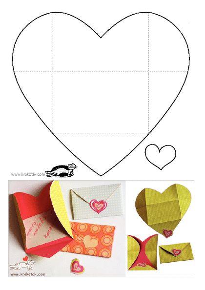 KROKOTAK PRINT! | printables for kids heart envelope Herzumschlag Karte