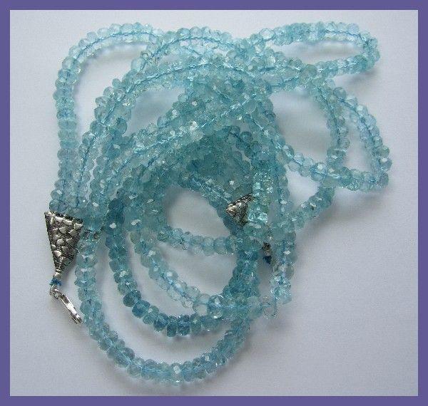468CT SUPREME QUALITY 3-STRAND AQUAMARINE NECKLACE-GORGEOUS necklace,gemstone necklace, aquamarine necklace