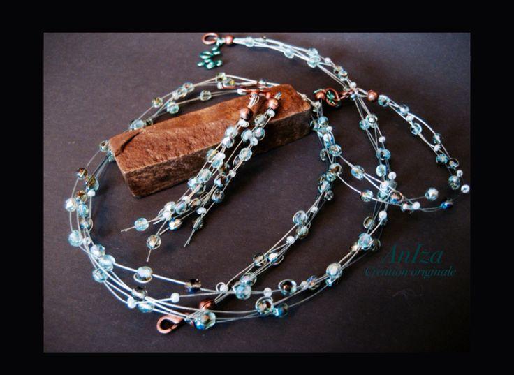 Necklace, earrings and bracelet, collier, boucle d'oreilles, tigertail, rocaille, pierre polie au feu et Swarovski , fait par Isabel
