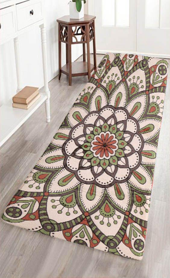 Bohemia Style Flower Printing Flannel Skid Resistance Carpet