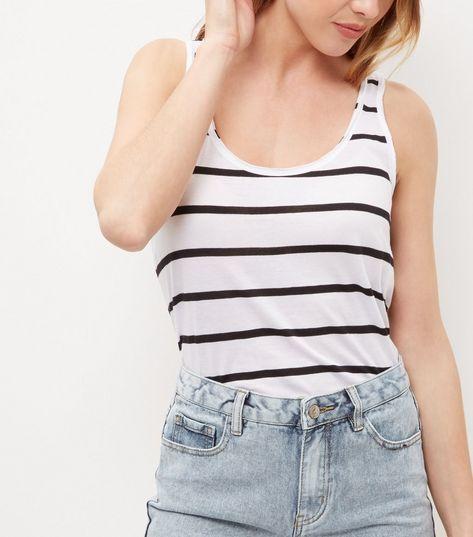 White Stripe Vest  | New Look
