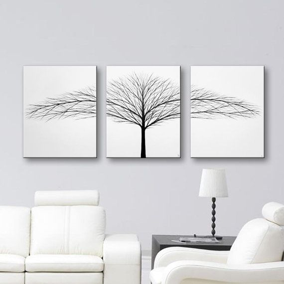 Tree of life painting wall art bedroom wall decor black and white canvas art 3 piece paintings home decor original painting 48x20