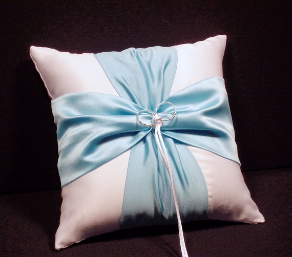 Use coupon code PINITFREESHIP for FREE shipping! White or Ivory Wedding Ring Bearer Pillow Aqua Pool Blue Accent by Jessicasdaydream