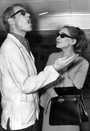 Peter O'Toole and wife Sian Phillips, London Airport, 1964.
