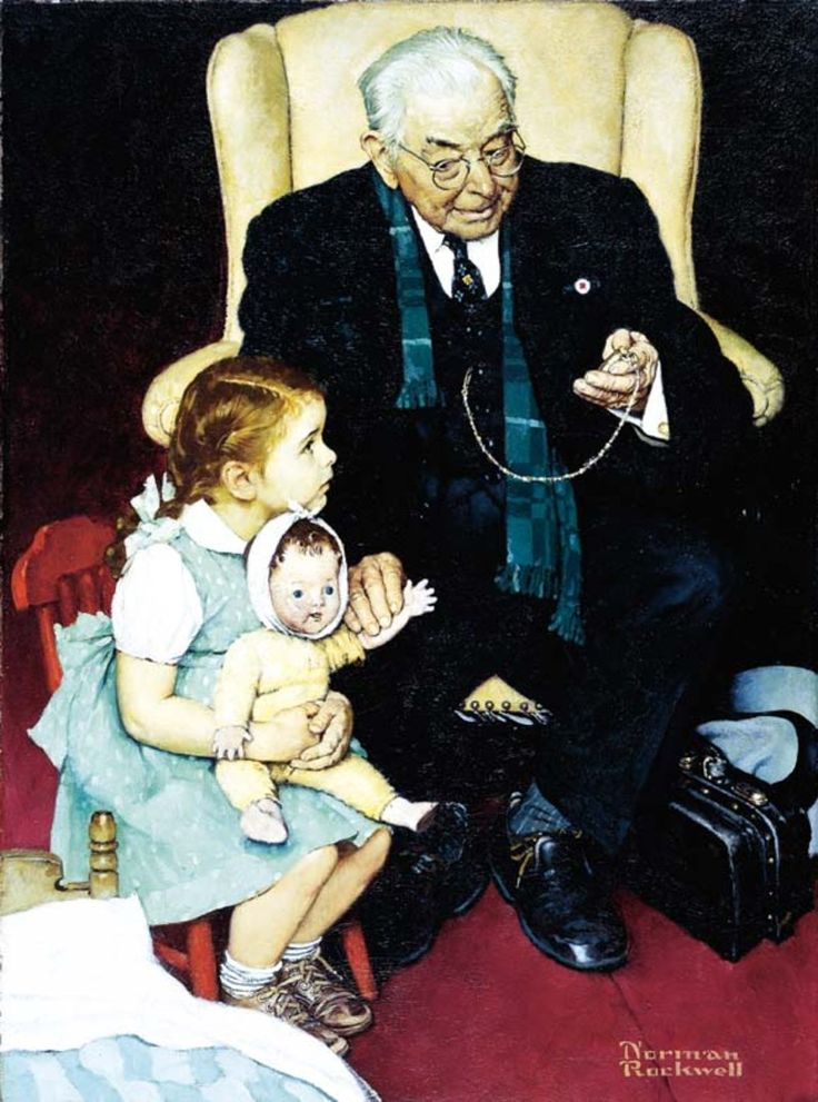 Doctor and Doll  by Norman Rockwell, 1942, oil.