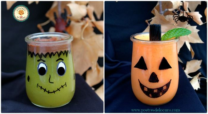 Postres de fruta y gelatina para Halloween. Halloween desserts for children.