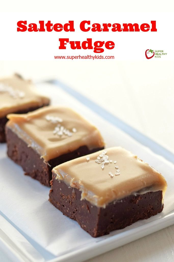 Salted Caramel Fudge - Chocolate fudge with a gooey salted caramel topping. http://www.superhealthykids.com/salted-caramel-fudge-recipe/