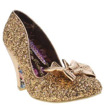 Irregular Choice Gold Nick Of Time Glitter High Heels