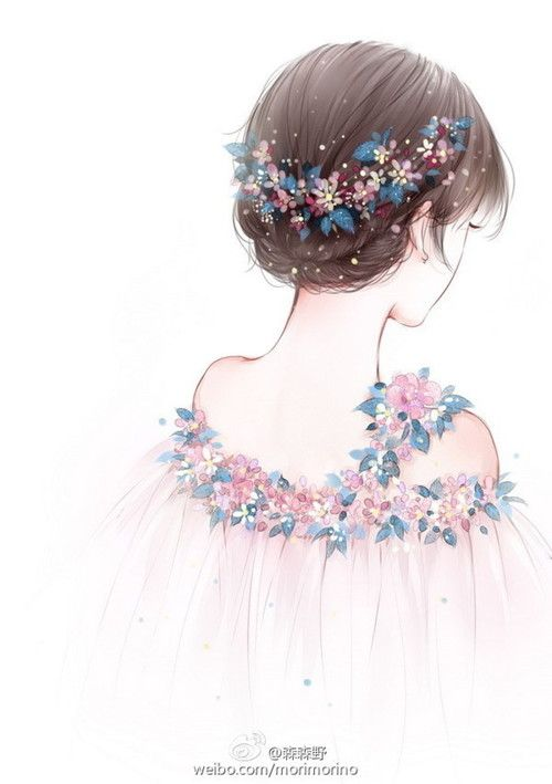Most popular tags for this image include: girl, flowers, art, anime and drawing